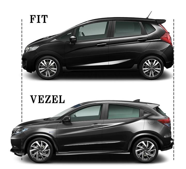 フィットとヴェゼルのサイズ比較